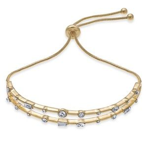 Gold Tone Crystal Double Bar Slider Bracelet